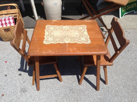 Antique Wooden Childrens Table And Chairs