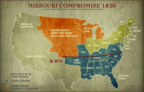The compromise of 1820- Missouri Compromise