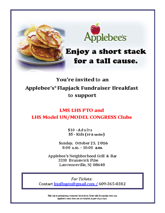 LMS LHS PTO/ Model UN / Model Congress Applebees Flapjack Fundraiser
