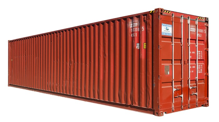 What are the standard sizes for shipping containers and what is the square footage for each?