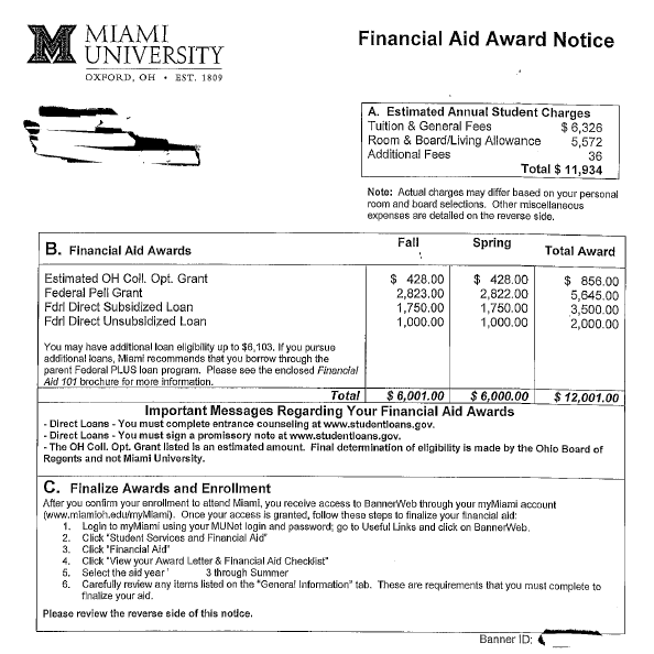 financial aid award letter samples