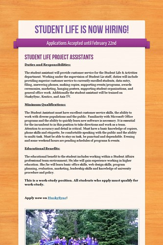 Student Life is Now Hiring!