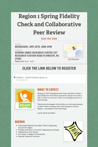 Region 1 Spring Fidelity Check and Collaborative Peer Review