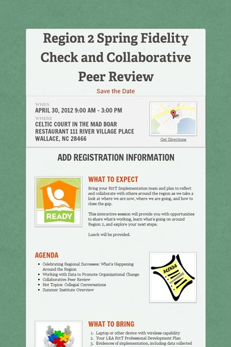 Region 2 Spring Fidelity Check and Collaborative Peer Review