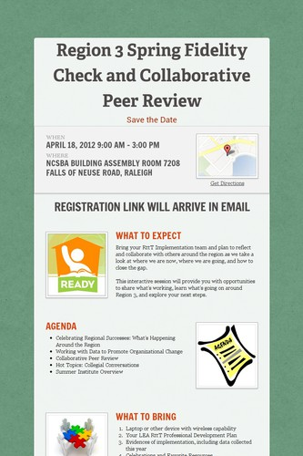 Region 3 Spring Fidelity Check and Collaborative Peer Review