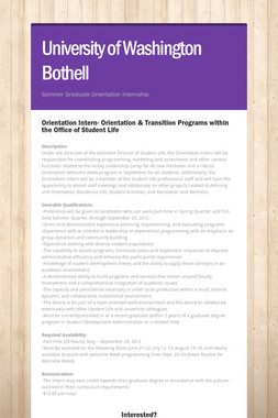 UW-Bothell Summer Internship