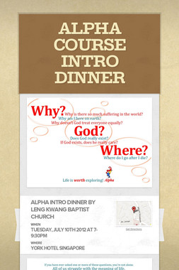 ALPHA COURSE INTRO DINNER
