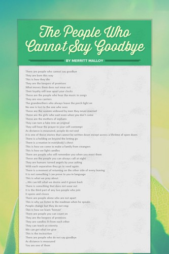 The People Who Cannot Say Goodbye
