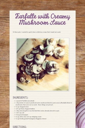 Farfalle with Creamy Mushroom Sauce