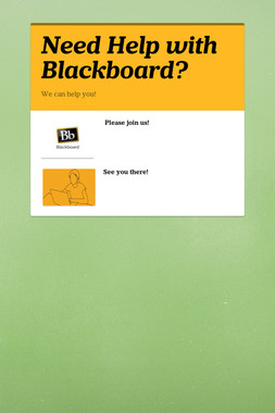 Need Help with Blackboard?