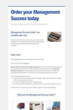 Order your Management Success today