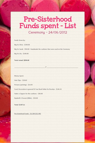Pre-Sisterhood Funds spent - List