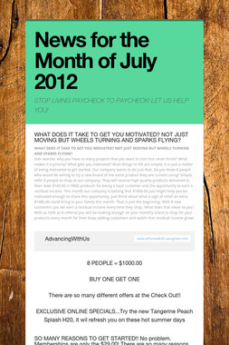 News for the Month of July 2012