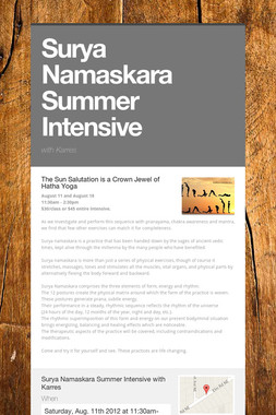 Surya Namaskara Summer Intensive