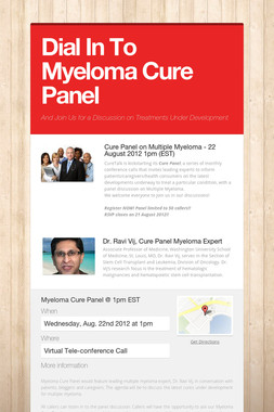 Dial In To Myeloma Cure Panel