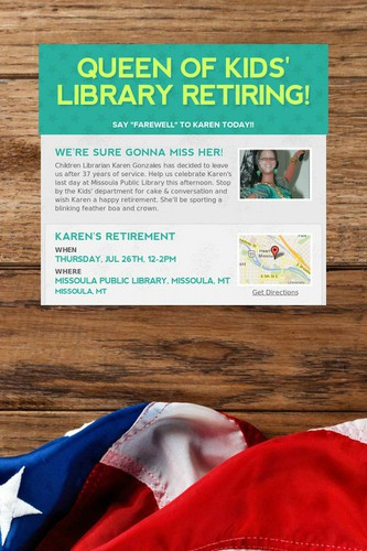 Queen of Kids' Library Retiring!