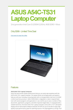 ASUS A54C-TS31 Laptop Computer