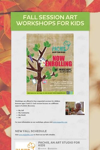 Fall Session Art Workshops for Kids