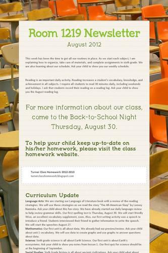 Smore Newsletters: Room 1219 Newsletter