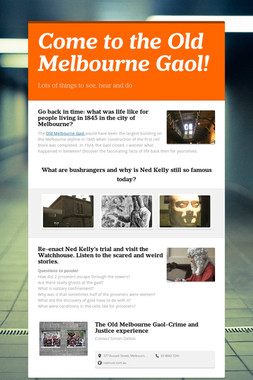 Come to the Old Melbourne Gaol!