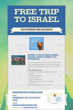FREE TRIP TO ISRAEL