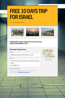 FREE 10 DAYS TRIP FOR ISRAEL