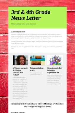 3rd  & 4th Grade News Letter