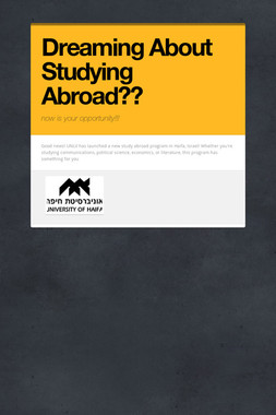 Dreaming About Studying Abroad??