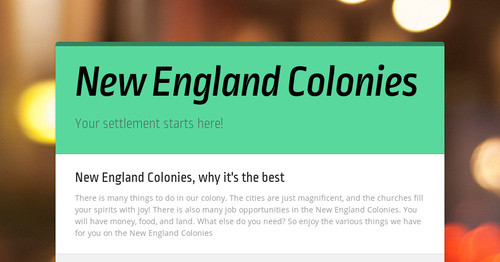 cheapeake vs new england colonies The early colonies in the new england and chesapeake bay area's  new  england required any village with 15 families or more to have an.