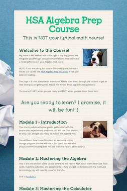 HSA Algebra Prep Course