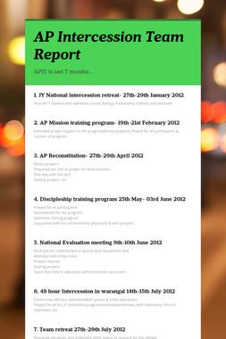 AP Intercession Team Report