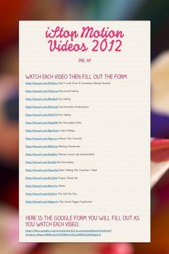 iStop Motion Videos 2012