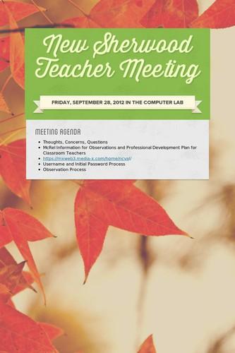 New Sherwood Teacher Meeting