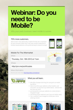 Webinar: Do you need to be Mobile?