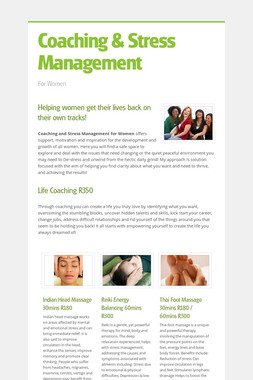 Coaching & Stress Management