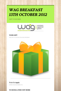 WAG BREAKFAST 13TH OCTOBER 2012
