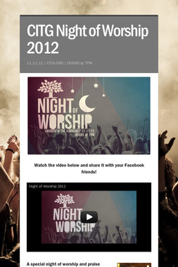 CITG Night of Worship 2012