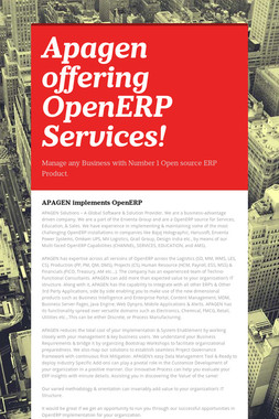 Apagen offering OpenERP Services!