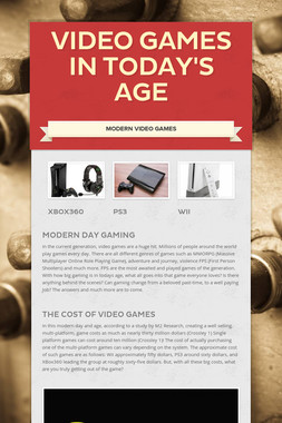 Video Games In Today's Age