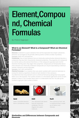 Element,Compound, Chemical Formulas