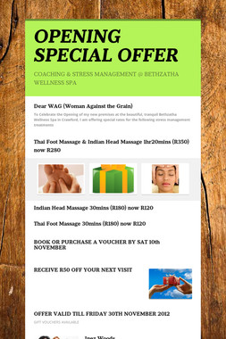 OPENING SPECIAL OFFER