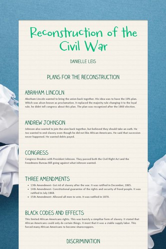Reconstruction of the Civil War