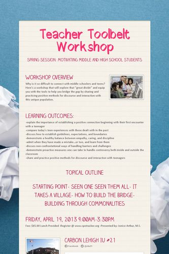 Teacher Toolbelt Workshop
