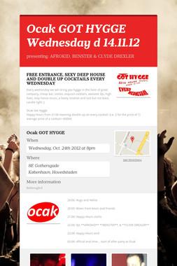 Ocak GOT HYGGE Wednesday d 14.11.12