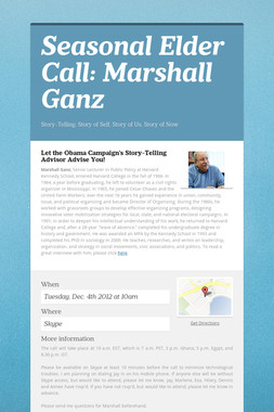 Seasonal Elder Call: Marshall Ganz