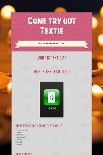 Come try out        Textie