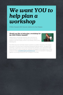 We want YOU to help plan a workshop