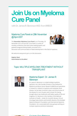 Join Us on Myeloma Cure Panel