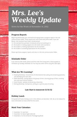 Mrs. Lee's Weekly Update
