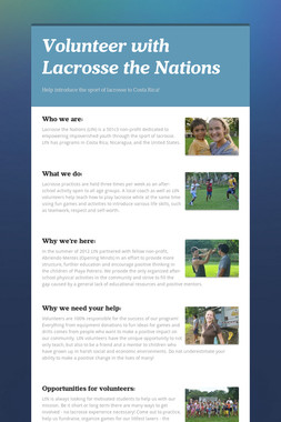 Volunteer with Lacrosse the Nations